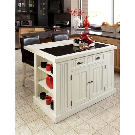 home styles nantucket white kitchen island  granite top    home depot