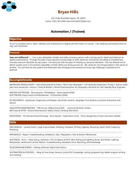 Automation Resumeautomation Resume by Bryan Resume Automation Trainee