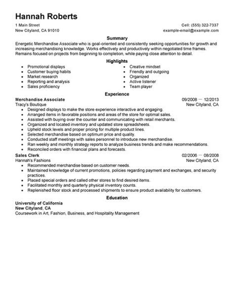 resume format resume for merchandise associate