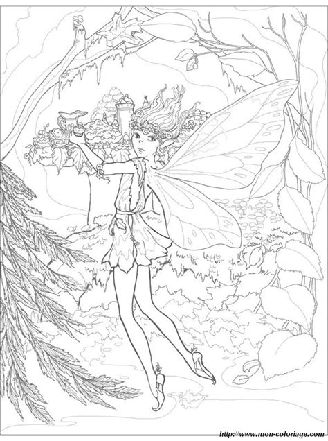 coloriage de fee dessin une fee dans la foret  colorier
