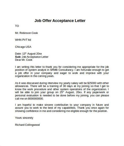 offer acceptance letter template acceptance letter