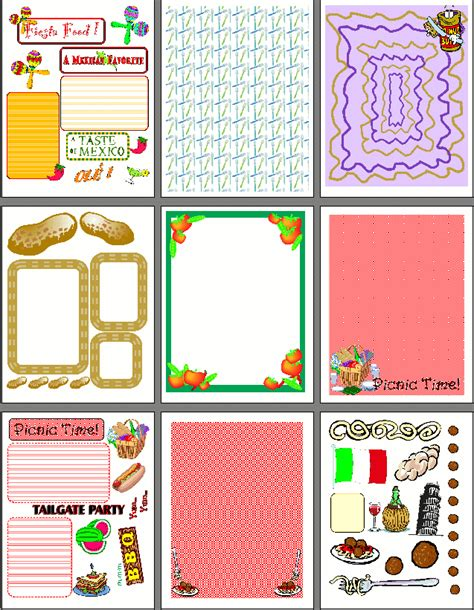 scrapbooking cuisine printable recipe scrapbook designs for food scrapbooking