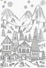 Coloring Ski Winter Adult Printable Whimsical Resort Skiing Adults Colouring Scenery Village Sheets Gcssi Gemerkt Uploaded Bear sketch template