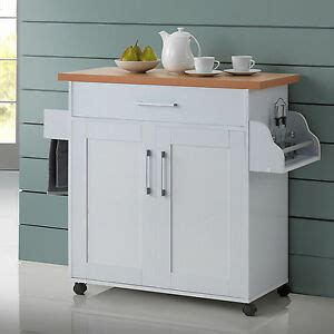 white kitchen island cart  wheels  wood top rolling