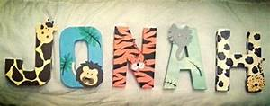 hand painted baby name jungle theme letters for my baby With jungle letters for baby room