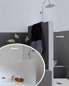 Couleur Mur Salle De Bain : peinture pour salle de bain qui remplace le carrelage ~ Dode.kayakingforconservation.com Idées de Décoration
