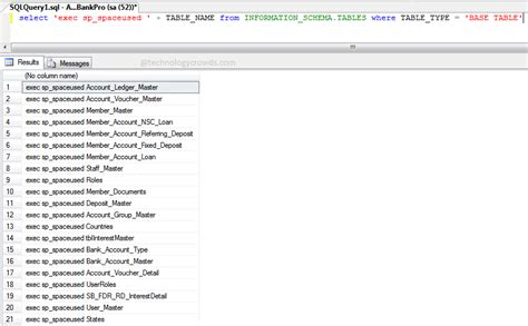 sql list all tables sql table size how to get database tables size in sql
