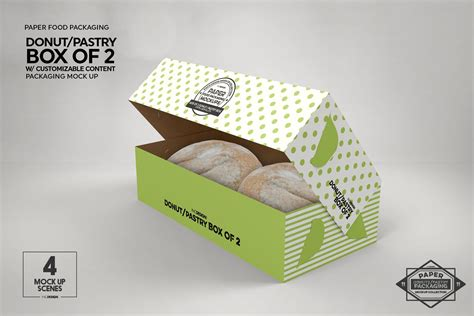 The best packaging mockups free download for your next project. Box of Two Donut Pastry Box Mockup | Box mockup, Food ...