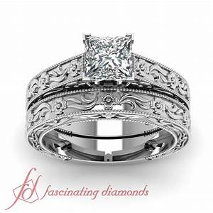 solitaire vintage milgrain wedding rings set 1 2 carat With 1 carat wedding ring set