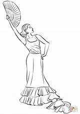 Coloring Espagnol Flamenco Colorare Dancer Coloriage Imprimer Flamencas Disegno Imprimir Template Dibujos Disegni Serra Fan Flamenca Gratuits Coloriages Bambini Ventaglio sketch template