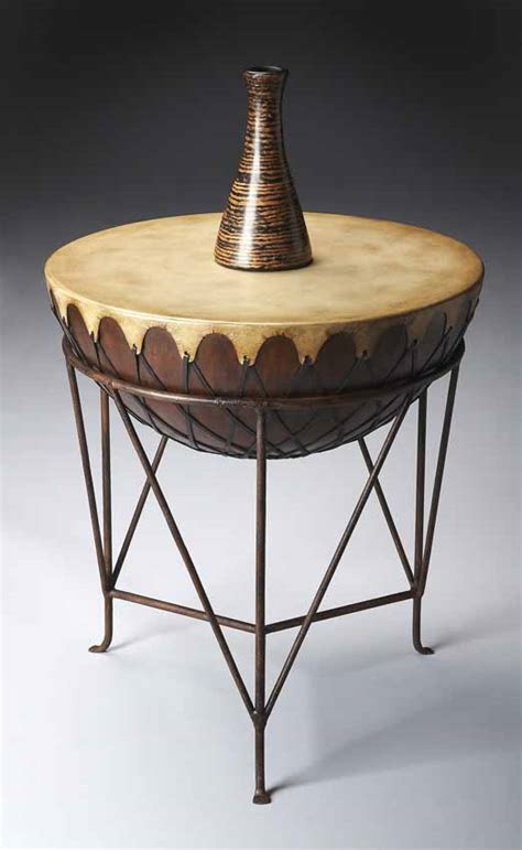 ethnic drum leather  table  metal stand butler