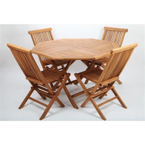 Gartenmöbelset Teak Holz 1 Tisch Und 4 Klappstühle