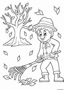 Feuilles D Automne à Imprimer : coloriage automne ramasser les feuilles dessin ~ Nature-et-papiers.com Idées de Décoration