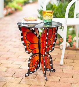 Handcrafted, Metal, Monarch, Butterfly, Side, Table, With, Round, Top