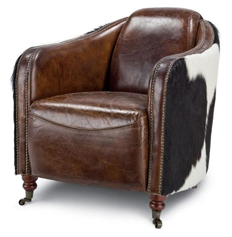 leather chair fink rustic brown leather hair hide upholstered arm chair