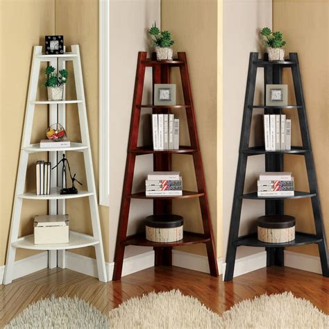 white cherry black storage ladder shape bookcase bookshelf