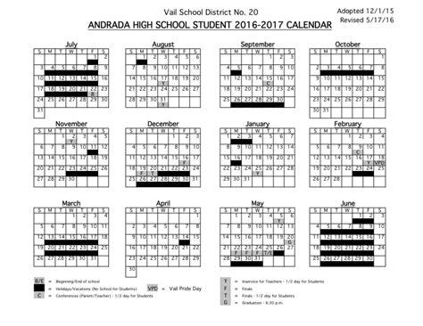 student calendars vail school district