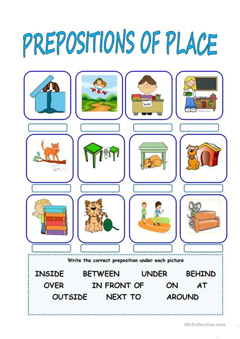 prepositions  place english esl worksheets