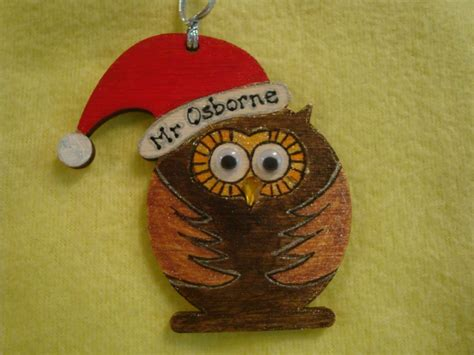 personalised wooden owl  santa hat shaped christmas tree