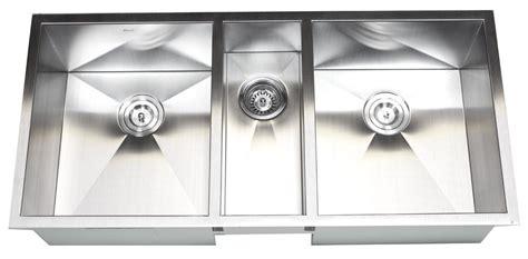 3 bowl kitchen sinks 42 inch 16 stainless steel undermount zero radius 3853