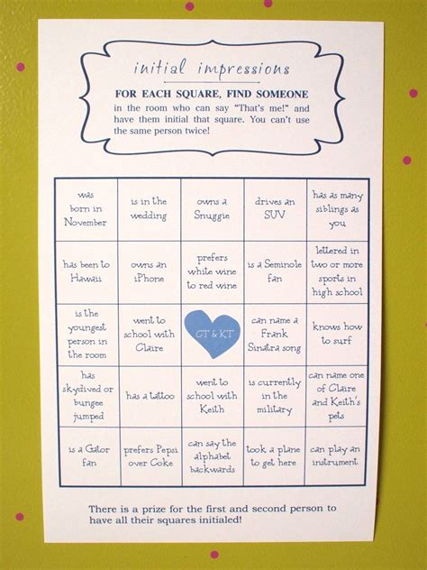 wedding bingo game great ice breaker by kreativecupcake on