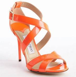 Jimmy Choo Neon Flame Orange Strappy Patent Leather