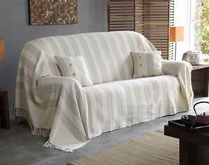 jete de canape motif raye becquet With nettoyage tapis avec plaid canapé orange