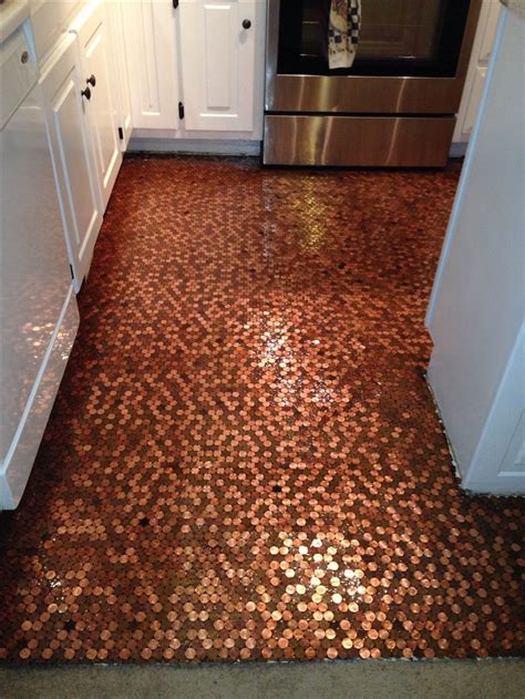 tile your floor with pennies my penny floor my penny floor pinterest kitchens and bathrooms pennies and bathroom