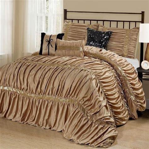 sequin comforter set new cal king bed solid gold black sequin striped 7pc comforter set ebay