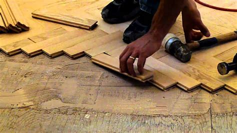how to install herringbone wood floors installing hardwood red oak herringbone floor nj kitchens and baths youtube
