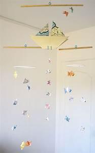 Mobile Bébé Bois : mobile b b origami suspension en bois chambre enfant bateau voilier poisson m duse babyshower ~ Teatrodelosmanantiales.com Idées de Décoration