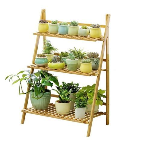 Bamboo Wood Ladder Plant Stand 3 Tier Foldable Flower