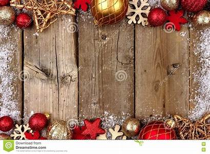 Christmas Border Wood Gold Double Snow Rustic