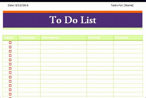 todo list template excel exceltemplates exceltemplates