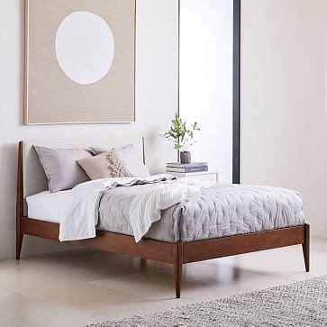 modern show wood bed wheat twill west elm