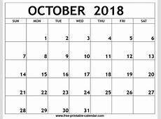 October 2018 Printable Calendar 2018 monthly calendar