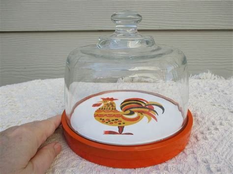 cute  vintage rooster plate  glass dome top vintage etsy rooster plates vintage
