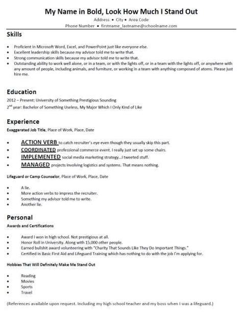 Give Me An Exle Of A Resume by Mock Resume Free Excel Templates