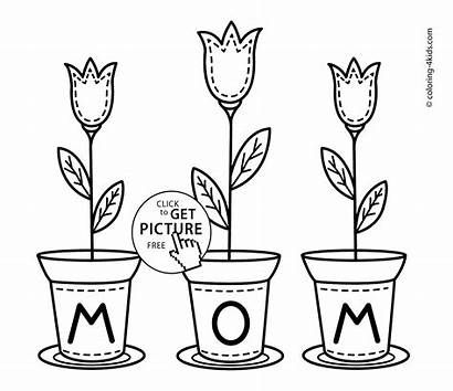Coloring Mothers Birthday Happy Mom Printable Mother