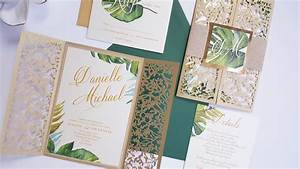 tropical gold wedding invitations laser cut tropical With laser cut palm tree wedding invitations