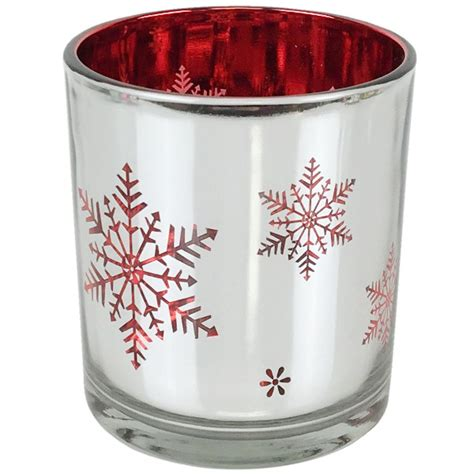 christmas metallic votive candle holder 3 quot h silver and red
