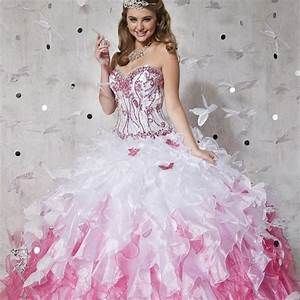 Shining Ball Gown Long Quinceanera Dresses 2016 Pink and ...