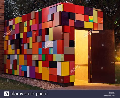 100 facade and garage entrance of colorful multi