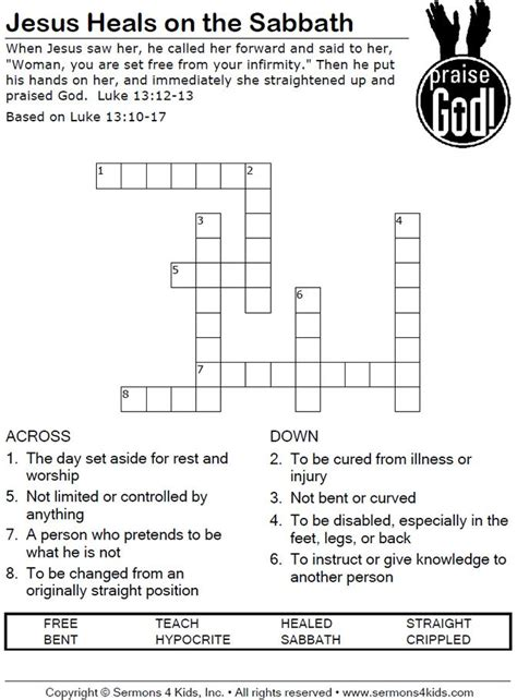 Below are possible answers for the crossword clue recess in church wall. miracles of jesus crossword puzzles printable | Jesus Heals on the Sabbath - Crossword puzzle ...