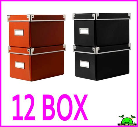 cd box ikea 12 ikea cd storage box organizer containers w lids label holders new ebay
