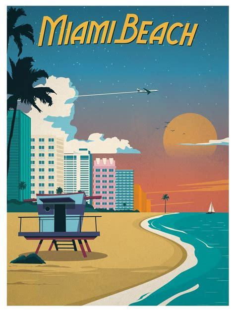 miami beach retro poster travel posters hotel 1930s fishing 1925