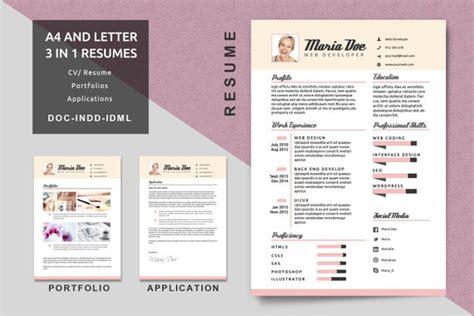 Portfolio Cv by A4 Letter Cv Sjablonen Moderne Cv Cv Template Applicatie