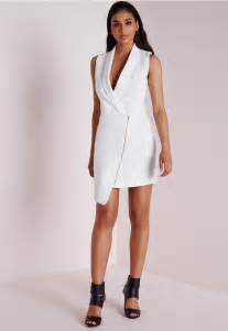 White Sleeveless Blazer Dress