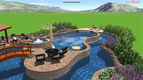 Backyard Pool With Lazy River by Calvary Custom Pools Lazy River Design