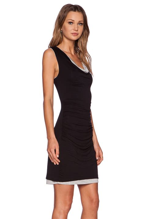 black drape dress three dots drape bodycon dress in black black granite